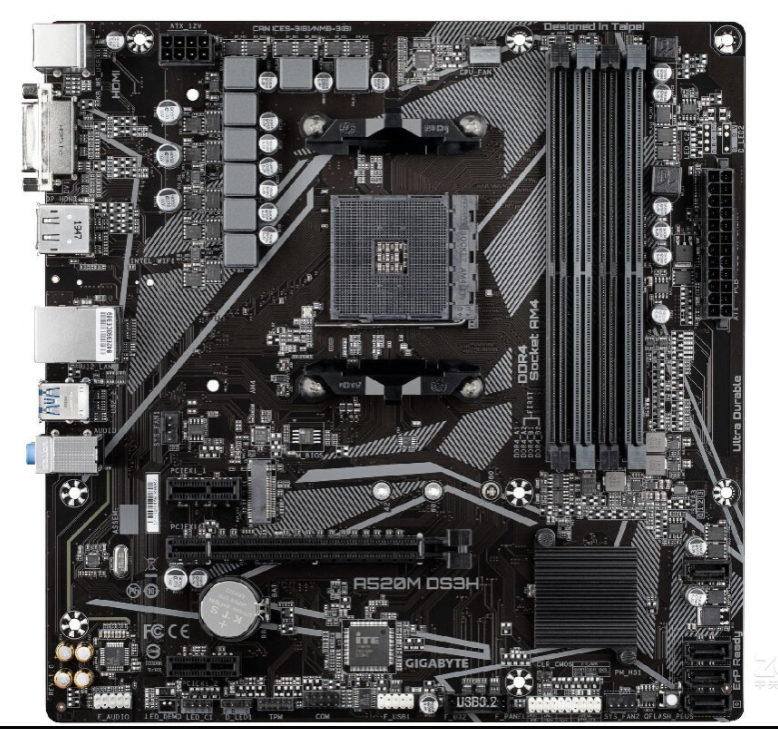 Gigabyte A520M DS3H Motherboard M-ATX AM4 5+3 Phases Digital PWM, Gaming GbE LAN, 3 Display Interfaces, NVMe PCIe 3.0 x4 M.2