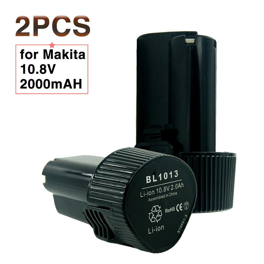 2PCS 10.8V 2000mAh battery Makita 2.0Ah BL1013 Lithium ION battery LCT204 DF330D TD090D