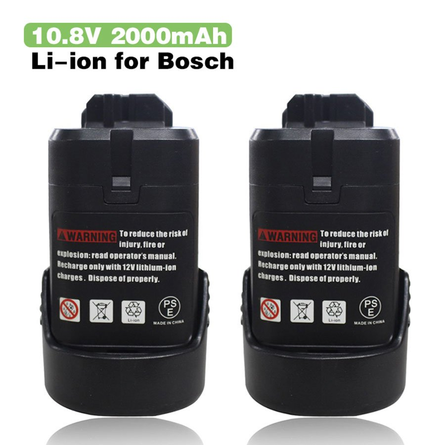 2X 10.8v 2.0Ah Battery Bosch BAT411 BAT412A BAT413A 2 607 336 333,2 607 336 014,Bosch GSB 10.8-2-LI