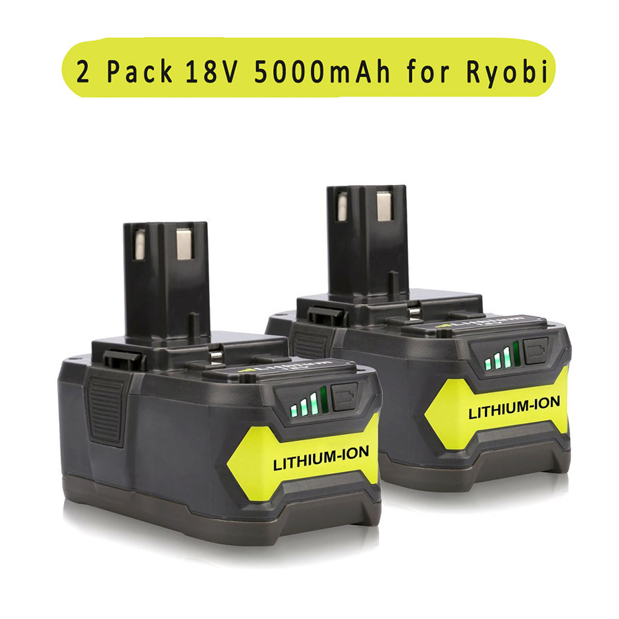 2PCS New 18V 5000mAH Lithium Power Battery Ryobi 18-Volt P122 P102 P108 P109