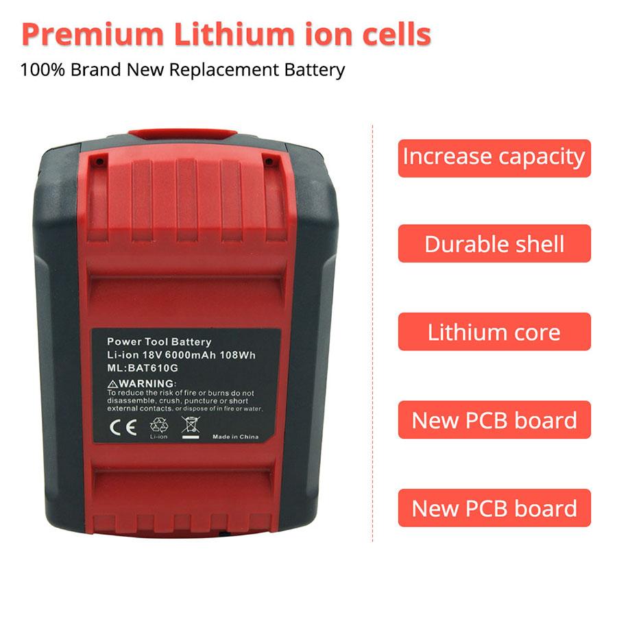 2 Pack 18V 6000mAh Lithium Bosch Power Battery BAT609 BAT610 BAT618 BAT619G BAT622 Batteria
