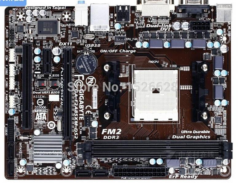 100% motherboard Gigabyte GA-F2A85XM-DS2 F2A85XM-DS2 DDR3 Socket FM2 Gigabit Ethernet