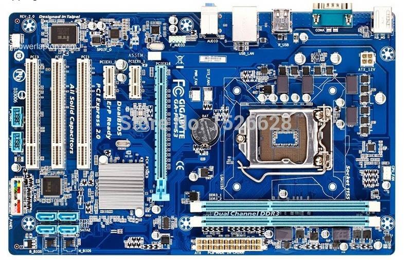 100% moderkort Gigabyte GA-P61-S3 P61 DDR3 LGA1155 P61-S3 All fast substans