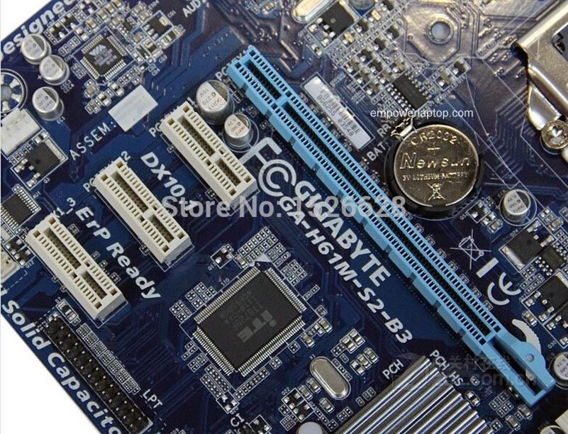 100% moderkort Gigabyte GA-H61M-S2-B3 H61 DDR3 LGA 1155 Solid Kondensator moderkort