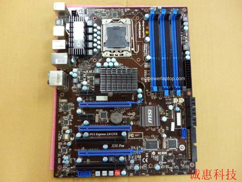 motherboard MSI X58 Pro LGA 1366 DDR3 i7 cpu 24GB USB2.0 SATA2 X58 Desktop motherboard