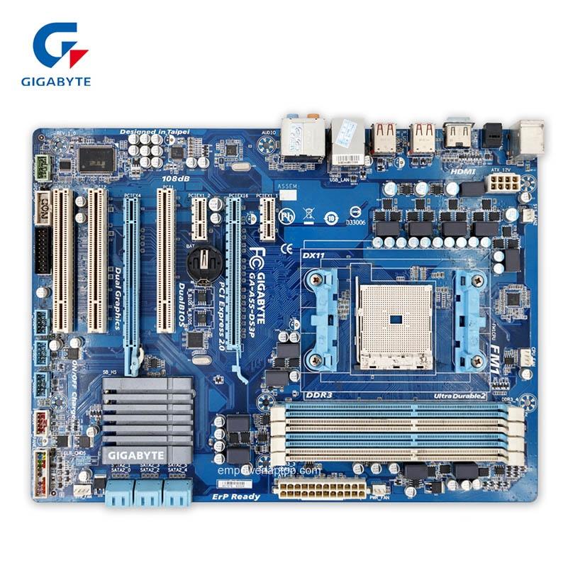 Gigabyte GA-A55-DS3P begagnade Desktop moderkort A55-DS3P A75 Socket FM1 DDR3 SATA2 USB2.0 ATX