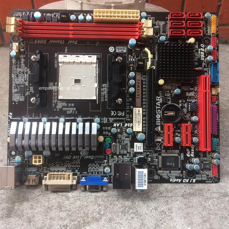 Used, Biostar TA75MH2 A75 motherboard FM2 DDR3 USB3.0 all solid small board FM2 motherboard,100% tested