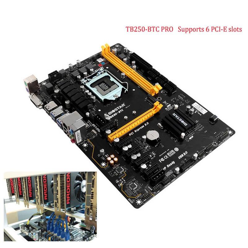 BIOSTAR 6PCIE TB250-BTC 100% TB250 1151 DDR4 Motherboards (alternative H81 PRO BTC TB85 H81A) Desktop PC MotherBoard