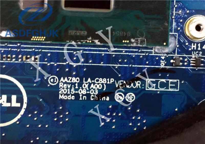 Laptop Motherboard AAZ80 LA-C881P Dell XPS 13 9350 I7-6500U Motherboard CN-0V33HM 0V33HM V33HM 100% ok