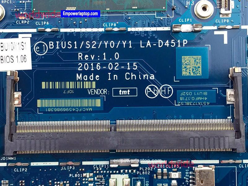 Classy Motherboard For Lenovo IdeaPad 510S-14ISK Laptop With CPU SR2EZ i7-6500U P/N LA-D451P 5B20L45854